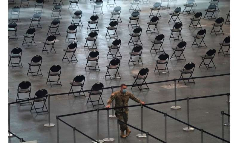 A member of the National Guard inside a Covid-19 vaccination center in New York on April 6, 2021