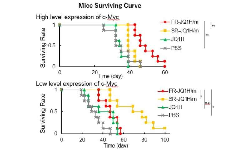 Nanomedicine activation profile determines efficacy depending on tumor c-Myc expression