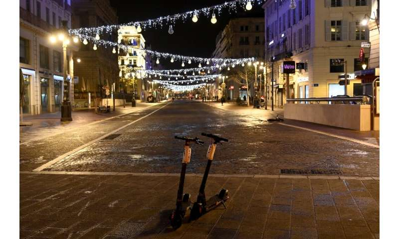 The streets of the southern French city of Marseille are empty after the overnight curfew comes into force