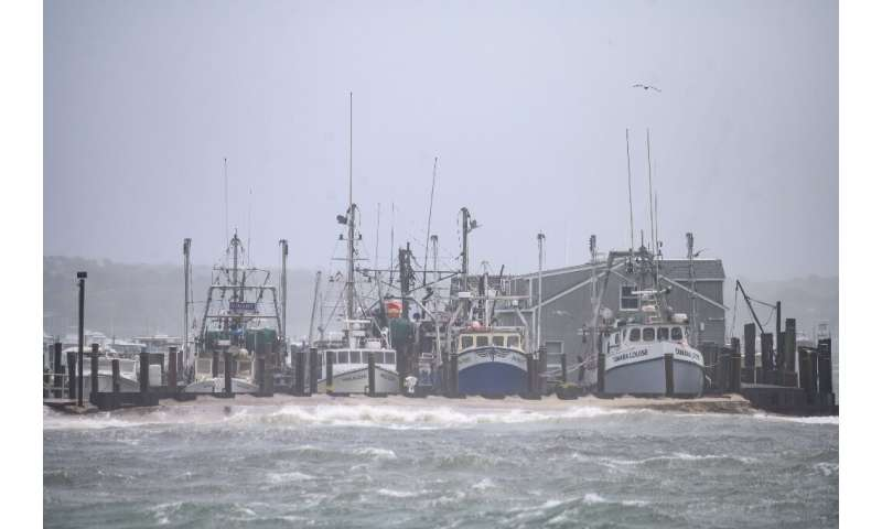 A general view shows boats in Montauk harbour as Tropical Storm Henri passes Long Island on August 22, 2021