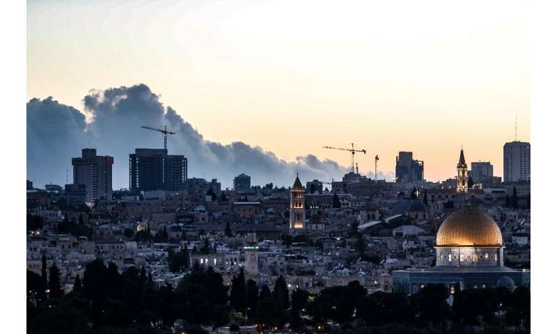 A smoke-filled sky from a forest fire in the Jerusalem mountains on August 15, 2021