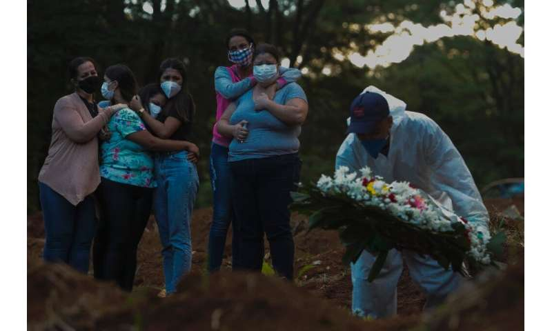 A family buries a relative who dies of Covid at a cemetery in Sao Paulo, Brazil on March 31, 2021