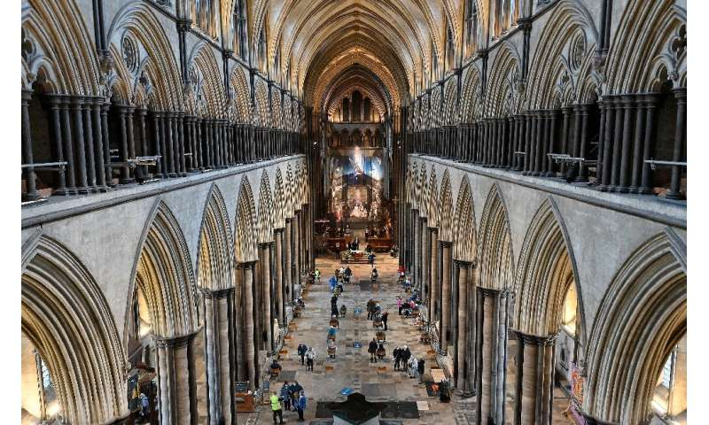 A temporary vaccination centre has been set up inside Salisbury Cathedral in southwest England, with musicians playing the 19th-