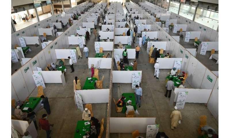 A vaccine centre in Lahore, India