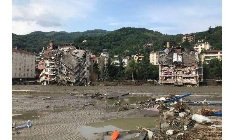 Collapsed buildings in  Kastamonu after deadly flash floods swept several Black Sea regions
