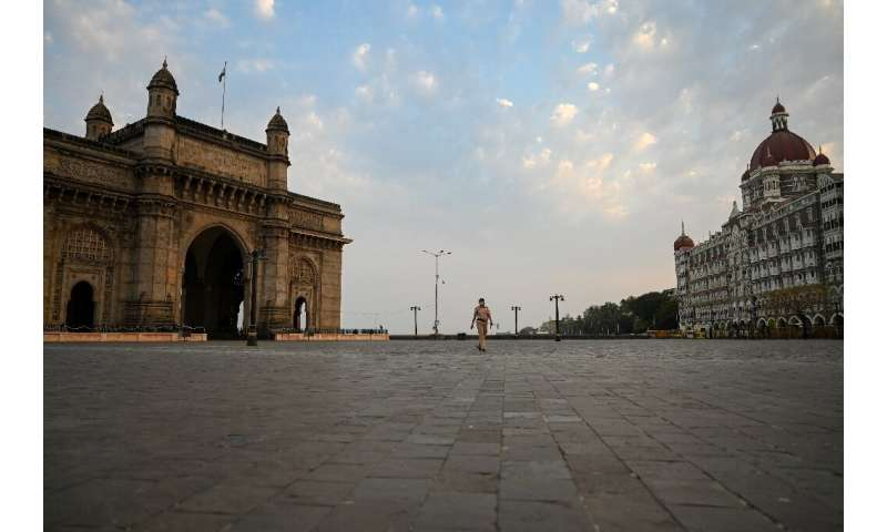Deserted streets in Mumbai, in India's virus-stricken Maharashtra state