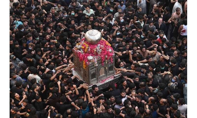 Despite coronavirus warnings, thousands of Shia Muslims –- many not wearing masks—gathered in the eastern Pakistani city of Laho