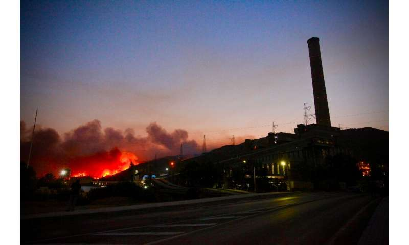 Flames soar close to a  power Plant near Oren, in Turkey's Mugla holiday region