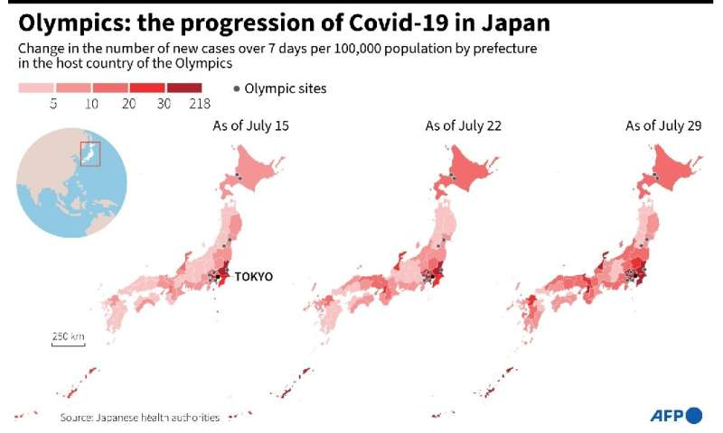 Maps showing the change in the number of new cases in the prefectures of Japan, host country of the Olympic Games