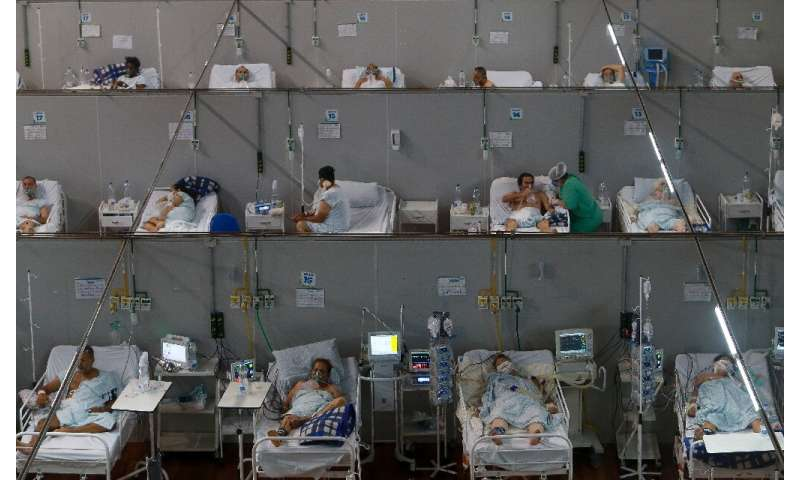 Patients affected by the coronavirus at a field hospital in Santo Andre, Brazil.