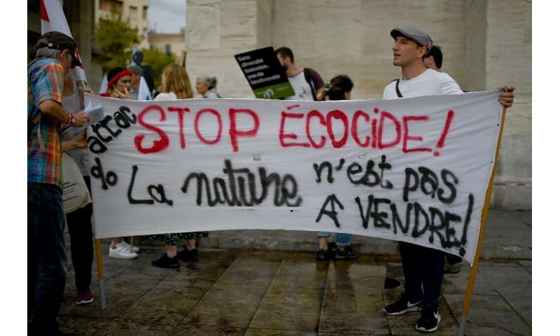Protesters gathered in Marseille to urge more urgent action to protect nature