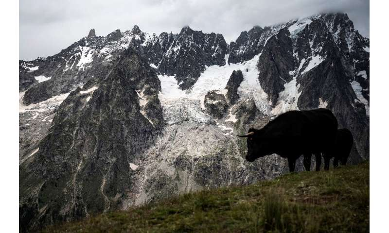 Rising temperatures caused by climate change threatens the collapse of the Planpincieux Glacier into the valley below