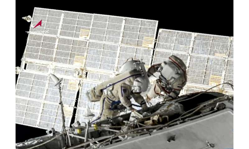 Russians end 7-hour spacewalk at International Space Station
