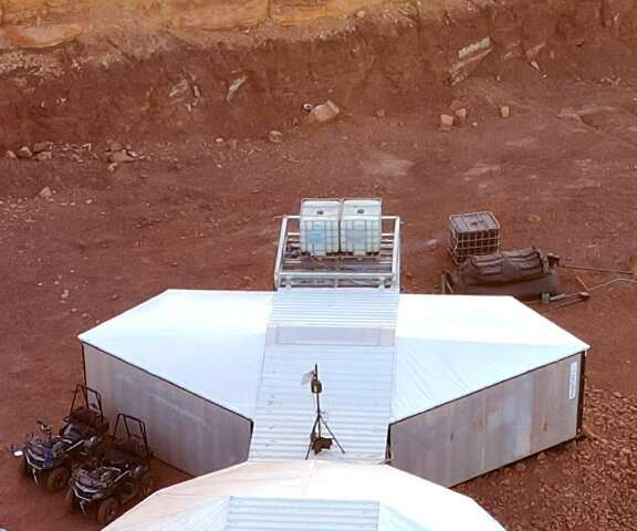 The simulated Mars base where the team will live, in the Ramon Crater in Israel's southern Negev desert