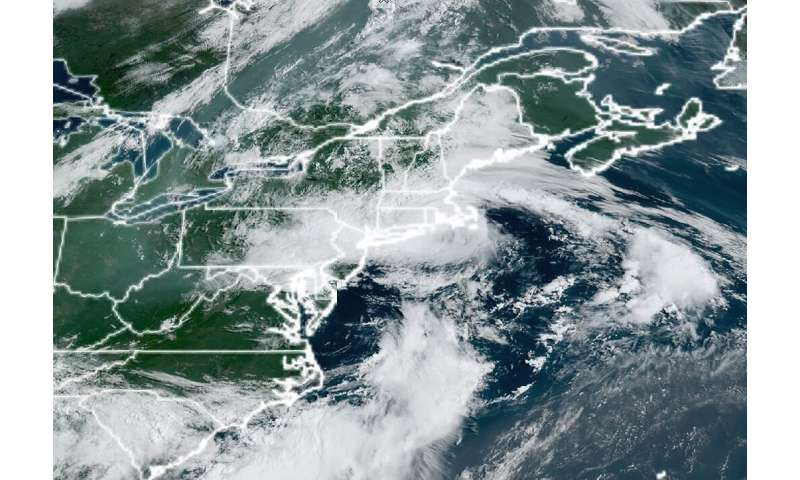 This National Oceanic and Atmospheric Administration(NOAA) satellite handout image shows Tropical Storm Henri off the northeast