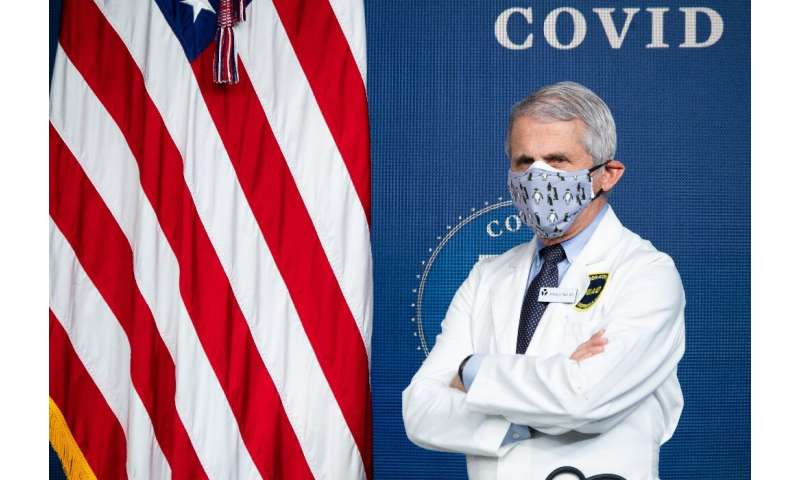 Top pandemic advisor Anthony Fauci says US authorities are considering cutting social distancing rules to three feet (one metre)