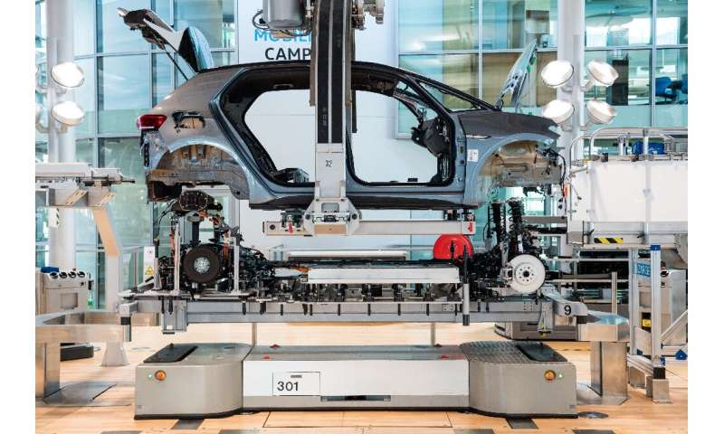 Volkswagen ID 3 electric car on the production line
