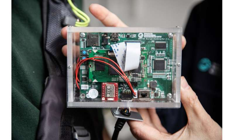 A close-up of the image processing unit of the wearable collision device. Credit: Mass Eye and Ear