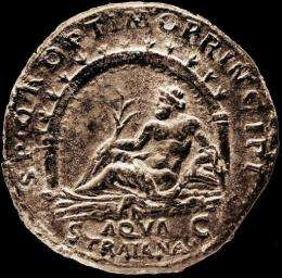 This handout picture released by Meon HDTV Productions shows a Sestertius coin dating from 109AD