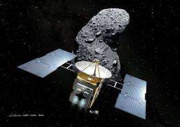 "An artist's impression of Japan's space probe ""Hayabusa"" (Falcon) and an asteroid, called Itokawa in space"