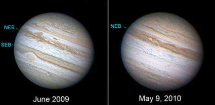 Jupiter has lost one of its cloud stripes