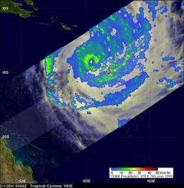 NASA satellites reveal heavy rains in dangerous Cyclone Yasi on its Australian approach