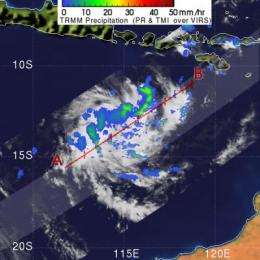 91S becomes Tropical Cyclone 24S as NASA's TRMM captures its rainfall
