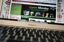 An ad seen on the Target website for a Cyber Monday sale is displayed on a laptop computer in November 2010