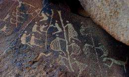 An ancient Aboriginal rock carving is seen in this photo taken on the Burrup Peninsula in the north of Western Australia