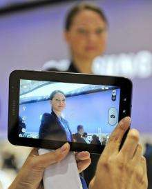 "A picture is taken with Samsung's latest tablet device the ""Galaxy tab"""