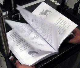 A prototype ultra-speed scanner capable of digitising a book in one minute, developed by professor Masatoshi Ishikawa