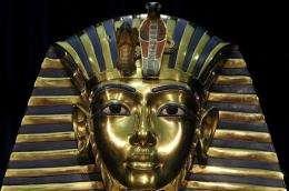 A replica of the death mask of Egyptian pharaoh Tutankhamun