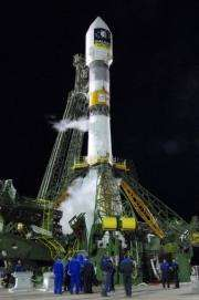 A rocket carrying a Galileo satellite is seen on a launch pad in Kazakhstan in 2008