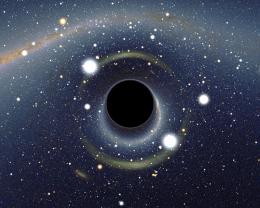 Black hole looks like a giant Life Saver in the sky.