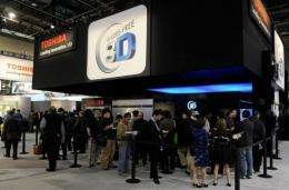 Convention attendees line up to see Toshiba glasses-free 3-D televisions