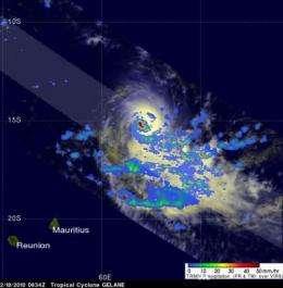In a wink, the TRMM satellite sees Gelane's smaller eye