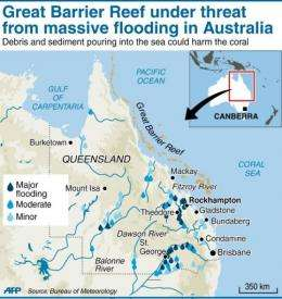Map showing areas most affected by recent floods in Queensland