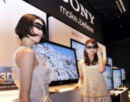 Models display a new Sony 3D television