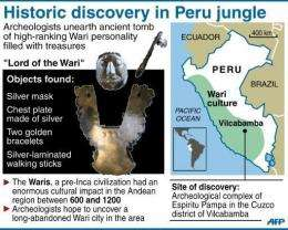 Objects found in so-called Lord of the Wari tomb, discovered by archeologists in southeastern Peru