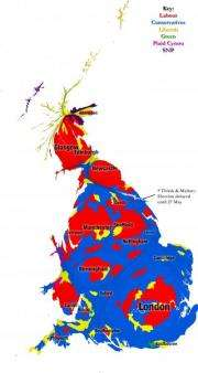 Map Of Uk General Election Results.Unique Map Shows Uk General Election Results In New Light