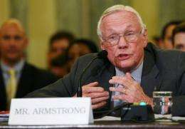 Retired NASA astronaut Neil Armstrong, commander of the Apollo 11 mission and the first man to walk on the moon