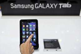 "Samsung's latest tablet device the ""Galaxy Tab"""