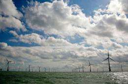 The 380ft (115m) turbines are spaced out over an area of more than 22 square miles (35 square km)