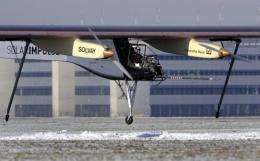 The aircraft dubbed Solar Impulse takes off with test pilot Markus Scherdel on board