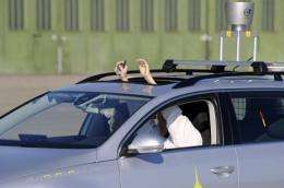 """The car uses laser scanners, heat sensors and satellite navigation to """"see"""" other vehicles"""