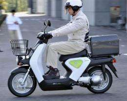 """The """"EV-neo"""" scooter can travel 30 kms (19 miles) on a single charge at up to 30 kms per hour"""
