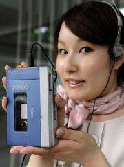 """The first model of Japanese electronics maker Sony's stereo cassete player, the """"Walkman TPS-L2"""""""