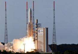 The launch of an Ariane 5 rocket