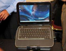 The Lenovo IdeaPad U1 is on display at a trade fair in Las Vegas