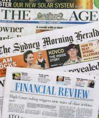 The mastheads of Australia's major newspapers published by the firm Fairfax